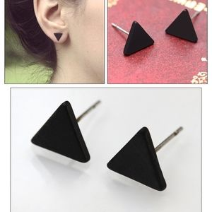 PREVIEW Dainty Black Triangle Stud Earrings